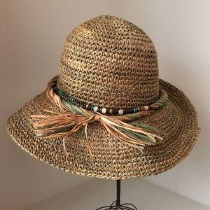 J Hats - Straw w/Beads & Straw Decor